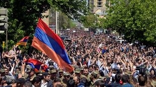 Hundreds of opposition supporters took to the streets of Armenia's capital Yerevan on 23 April 2018 to force the departure of long-time leader Serzh Sarkisian.
