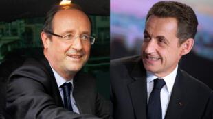 Le candidat socialiste François Hollande (G) et Nicolas Sarkozy, le président sortant et candidat de l'UMP.