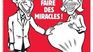 A capa do jornal satírico francês Charlie Hebdo traz Brigitte Macron grávida