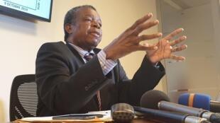 Le professeur Jean-Jacques Muyembe au cours d'une conférence de presse, le 12 octobre à Kinshasa.