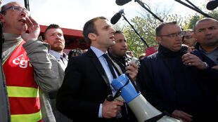 Dan takarar Shugaban kasar Faransa Emmanuel Macron a yankin Amiens.