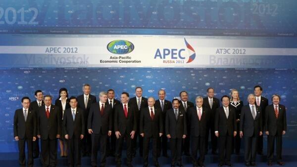Photo de famille au sommet de l'Apec, à Vladisvostok, le 9 septembre 2012.