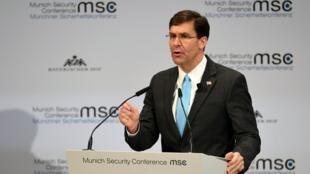 Bộ trưởng Quốc Phòng Mỹ Mark Esper phát biểu tại Hội nghị thường niên về An ninh, Munich, Đức, ngày 15/02/2020.