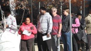 Voters queue in Cleveland, Ohio