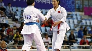 Tuyển thủ karatedo Nguyễn Hoàng Ngân tại Á Vận hội 2014, Hàn Quốc.