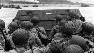 US Army troops approaching Normandy from Portsmouth on D-Day, 6 June 1944.
