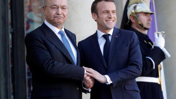 伊拉克總統薩萊赫與法國總統馬克龍2019年巴黎愛麗舍宮