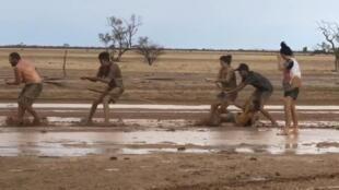 Pour célébrer l'arrivée de la pluie, des habitants de Winton (est) font des glissades sur la terre boueuse. Le 15 janvier 2020.