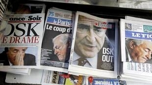 Newspapers front pages about Dominique Strauss-Kahn's arrest.
