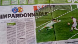 Báo Le Parisien chạy tựa khắc khe : 'imperdonable' (Không thể tha thứ) sau thất bại của đội Paris-PSG trước đội Manchester United, ngày 06/03/2019.