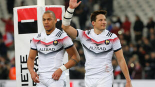 François Trinh-Duc and Gaël Fickou at the Six Nations Championship France vs Italy match last month
