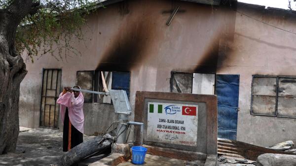 Сожженный исламистами дом, Нигерия, штат Борно, 5 мая 2014 г.
