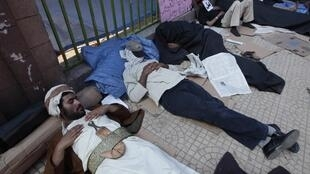 Anti-government demonstrators stage a sit-in at the university in Sanaa on Monday, 21 February 2011.