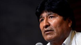 L'ancien président bolivien Evo Morales lors d'une conférence de presse à Buenos Aires le 27 janvier 2020.