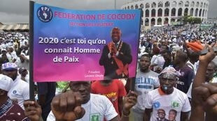 Supporters of Laurent Gbagbo in Cocody, Abidjan, during an opposition meeting in September 2019.