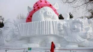 Le cochon était à l'honneur en 2019 en République populaire de Chine. Harbin, Heilongjiang, le 4 janvier 2019.