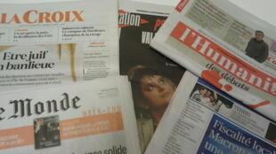 Primeiras páginas dos jornais franceses de 24 de novembro de 2017