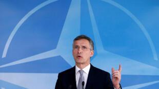 Tổng thư ký NATO Jens Stoltenberg phát biểu tại Hội đồng NATO - Nga ở Bruxelles ngày 20/04/2016.