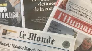 capas dos diários franceses 30012019