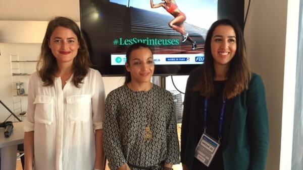 Gaëlle de Lamotte (à esq.), Sarah Ourahmoune (centro) e Linda AÏt Bouzid (à dir.) foram selecionados no programa de incubadores de start-ups de mulheres no esporte.