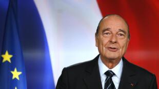 Jacques Chirac lors de son allocution du 11 mars 2007, où il annonce qu'il ne représentera pas à l'élection présidentielle de 2007.