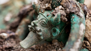 The head of the river god Acheolos on the wine kettle discovered at Landau, east France