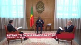 Le président Patrice Talon répond aux questions de Christophe Boisbouvier (RFI) et Marc Perelman (France 24).