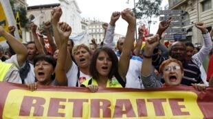 Manifestação contra as reformas da aposentadoria, Marseille 7 de setembro.