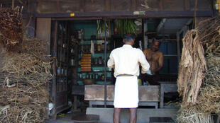 Traditional Ayurveda drugstore in Kerala, India