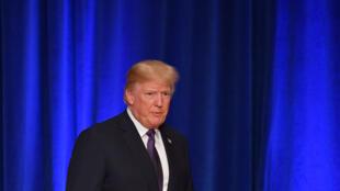 美國總統特朗普2017年12月18日在華盛頓就美國國家戰略發表講話。