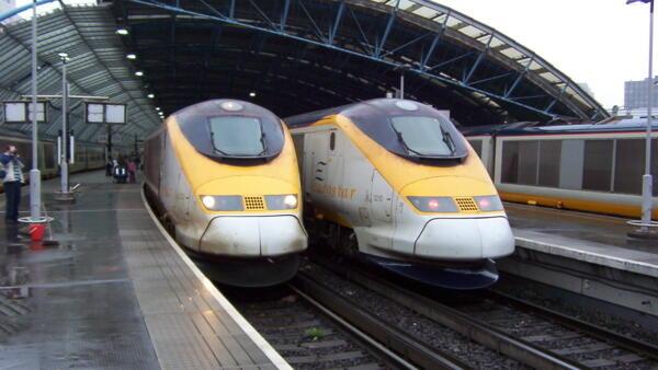 Eurostar trains at Waterloo station, London