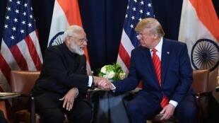 Le président américain, Donald Trump, et le Premier ministre indien, Narendra Modi, lors d'une réunion au siège de l'ONU, à New York, le 24 septembre 2019.