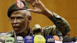 Lieutenant General Omar Zain al-Abdin, the head of the new Sudanese military council's political committee, addresses a press conference in Khartoum, Sudan on April 12, 2019