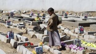 Cemitério onde são enterrados os combatentes da Al Qaeda na cidade de Ibb, no sul do Iêmen.