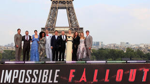 "m Cruise, Henry Cavill, Simon Pegg, Rebecca Ferguson, Angela Bassett, Michelle Monaghan, Vanessa Kirby, Alix Benezech, Caspar Phillipson, producer Jake Myers pose in front the Eiffel Tower during the premiere of the film ""Mission: Impossible - Fallout."