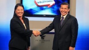 Keiko Fujimori and Ollanta Humala at a televised debate in May