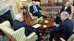U.S. Secretary of State Clinton hosts a trilateral meeting with Israeli Prime Minister Netanyahu and Palestinian President Abbas