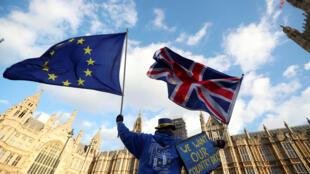Một người chống Brexit bày tỏ thái độ trước tòa nhà Nghị Viện tại Luân Đôn, Anh, ngày 16/01/2018.