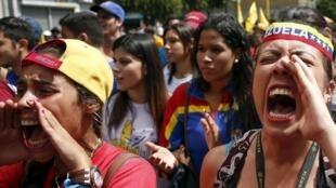 Manifestation de l'opposition au pouvoir à Caracas, le 21 novembre 2015.