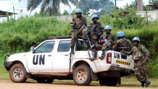 Des soldats de la Monusco, le 23 octobre 2014, à Beni.