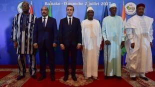 Les chefs d'Etats du G5 Sahel et le président français lors du sommet de juillet dernier à Bamako.