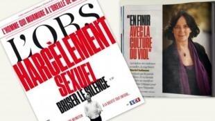 Capa da revista L'OBS sobre violência e assédio sexuais em França e nos Estados Unidos