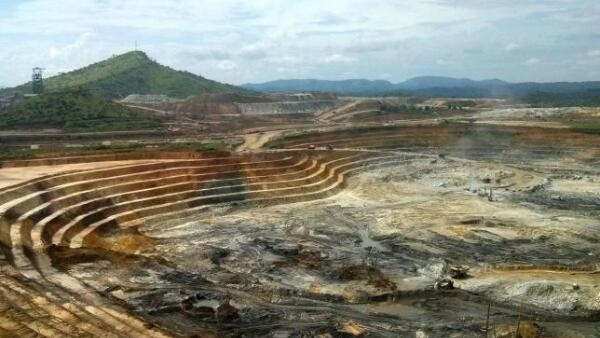 An open pit gold mine at the Kibali mining site in northeast Democratic Republic of Congo