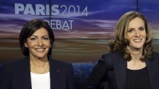 As duas principais candidatas à prefeitura de Paris, Annea Hidalgo (à esq.) e Nathalie Kosciusko-Morizet.