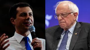 A gauche, Pete Buttigieg, à droite Bernie Sanders.