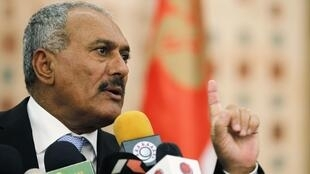 President Ali Abdullah Saleh addresses a news conference in Sanaa, 21 February 2011