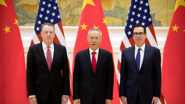 美中貿易談判代表:美國貿易代表萊特希澤、財政部長姆努欽和中國副總理劉鶴 北京釣魚台國賓館 2019 2 14