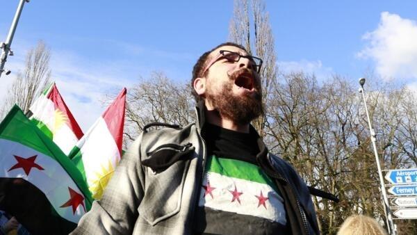 Manifestation d'opposants syriens à Genève, le 24 janvier 2014.