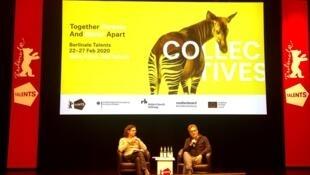 Kleber Mendonça Filho (e) entrevistado em Berlim por Vincenzo Bugno, diretor do World Cinema Fund