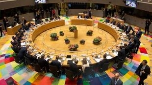 A picture taken in Brussels on April 29, 2017 shows a general view of the round table meeting of EU heads of state. The 27 ​EU leaders held the summit to adopt Brexit negotiating guidelines. EU President Donald Tusk urged the bloc to keep a united front .